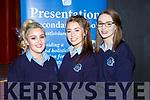 Megan Hickey, Shauna Hickey and Grace Murphy at the Castleisland Presentation school awards night on Wednesday evening
