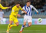 Real Sociedad's Haris Seferovic (r) and Villareal's Mateo Pablo Musacchio during Copa del Rey match.November 23,2013. (ALTERPHOTOS/Mikel)