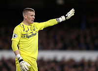 11th January 2020; Goodison Park, Liverpool, Merseyside, England; English Premier League Football, Everton versus Brighton and Hove Albion; Everton goalkeeper Jordan Pickford  shouts instructions to his defenders - Strictly Editorial Use Only. No use with unauthorized audio, video, data, fixture lists, club/league logos or 'live' services. Online in-match use limited to 120 images, no video emulation. No use in betting, games or single club/league/player publications