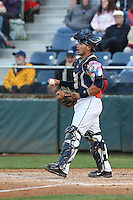 Johan Quevedo (16) of the Everett AquaSox in the field at catcher during a game against the Spokane Indians at Everett Memorial Stadium on July 25, 2015 in Everett, Washington. Spokane defeated Everett, 10-1. (Larry Goren/Four Seam Images)