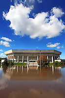 Hilton Coliseum is surrounded by water Wednesday, August 11, 2010 from the flooded South Skunk River and Squaw Creek.