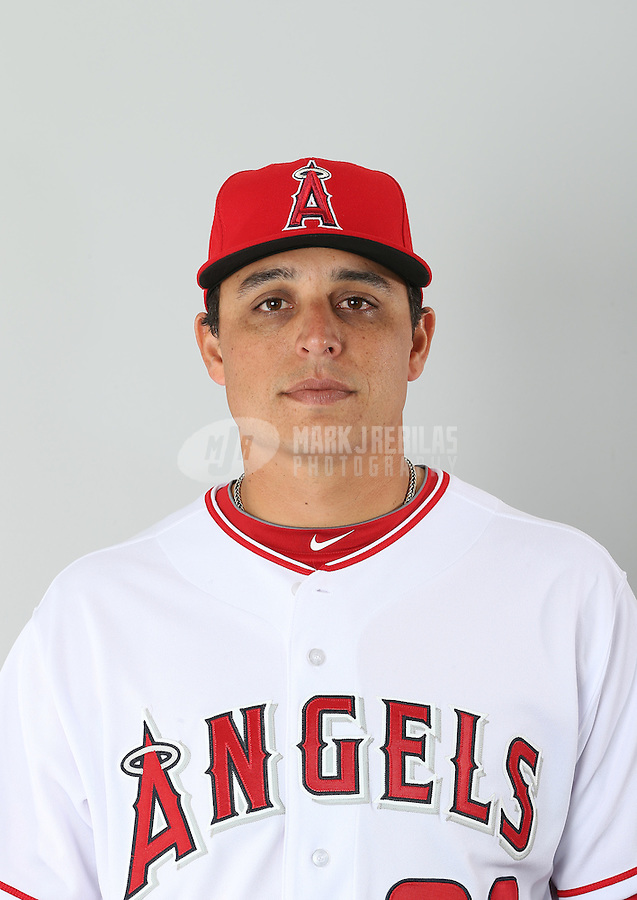 Feb. 21, 2013; Tempe, AZ, USA: Los Angeles Angels pitcher Jason Vargas poses for a portrait during photo day at Tempe Diablo Stadium. Mandatory Credit: Mark J. Rebilas-