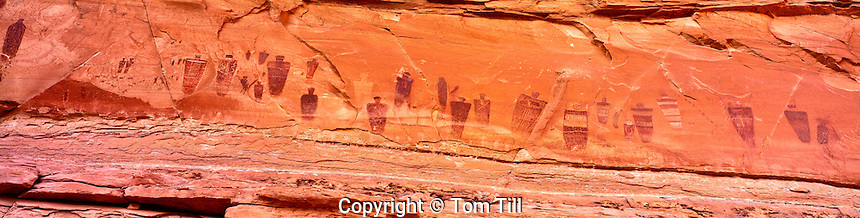 The Great Gallery, Canyonlands National Park, Utah   Panoramic view Barrier Canyon rock art   Finest rock art panels in United States  Thousands of years old.