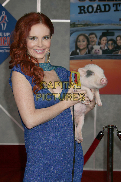 "PHOEBE PRICE & PIG.""College Road Trip"" - World Premiere held at El Capitan Theatre, Hollywood, California, USA, 03 March 2008 .half length funny farm animal blue dress.CAP/ADM/RE.?Russ Elliot/Admedia/Capital PIctures"