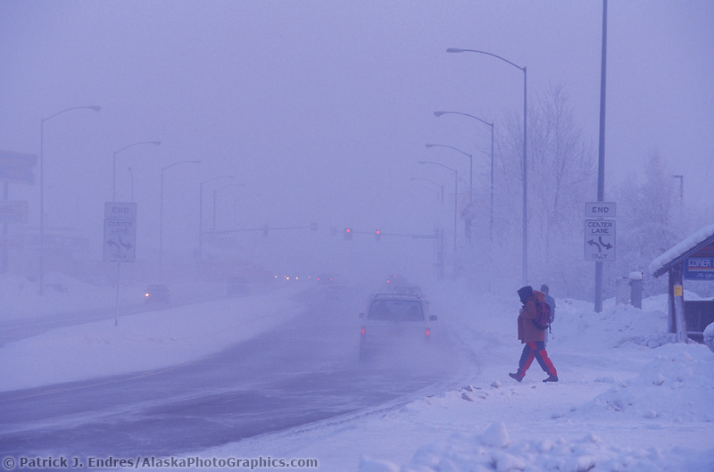 Ice Fog on College road, Fairbanks, Alaska
