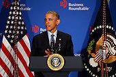 United States President Barack Obama delivers remarks to members of the Business Roundtable at the quarterly meeting of the Business Roundtable at the Business Roundtable Headquarters in Washington, DC on December 3, 2014. <br /> Credit: Aude Guerrucci / Pool via CNP