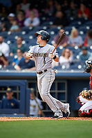 New Orleans Baby Cakes first baseman Tyler Moore (28) follows through on a swing during a game against the Nashville Sounds on May 1, 2017 at First Tennessee Park in Nashville, Tennessee.  Nashville defeated New Orleans 6-4.  (Mike Janes/Four Seam Images)