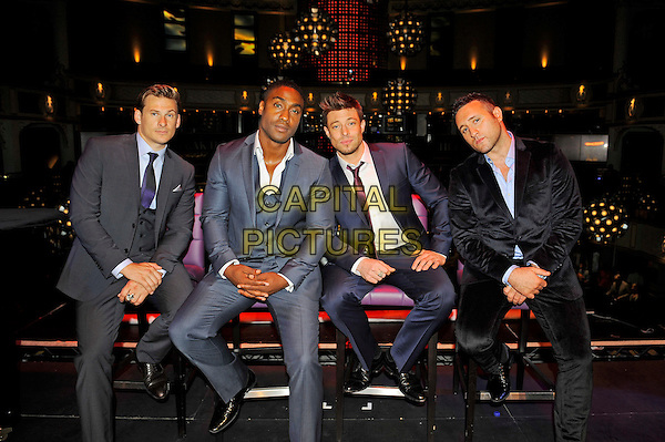 Lee Ryan, Simon Webbe, Duncan James and Antony Costa of Blue<br /> Blue at the launch of their new single 'You Break My Heart', The Matcham Room, Hippodrome Casino, Leicester Square, London, England. <br /> 15th August 2013<br /> full length grey gray black suit band group velvet sitting <br /> CAP/MAR<br /> &copy; Martin Harris/Capital Pictures