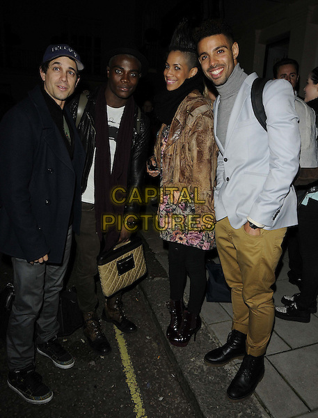 Adam Garcia, BB Kaye, Dominique Tipper & guest.'Revolution' first Sunday performance cast departures from Theatre Royal, Haymarket, London, England..6th May 2012.full length black tights pink black floral print dress brown grey gray jacket.CAP/CAN.©Can Nguyen/Capital Pictures.