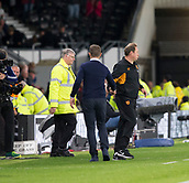 8th September 2017, Pride Park Stadium, Derby, England; EFL Championship football, Derby County versus Hull City; Derby County Manager Gary Rowett and Hull City Head Coach Leonid Slutcky shale hands after the match (5-0)