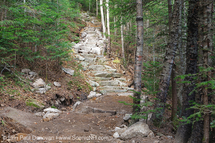 New trail work along the Mt Tecumseh Trail in New Hampshire in October 2011. The color of the stones in the staircase identifies the existing staircase and the new section of the staircase. The darker color stones on the bottom portion of the staircase are the existing staircase, and the lighter color stones are the new section.