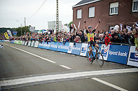race winner Sven Nys (BEL/Crelan-AAdrinks) crossing the finish line<br /> <br /> GP Mario De Clercq 2014<br /> Hotond Cross<br /> CX BPost Bank Trofee - Ronse