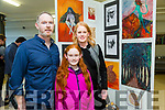 Kerry College of Further Education Art, Craft and Design Exhibition. showcasing Post Leaving Certificate QQI Level 5 Art, Craft and Design students work on Thursday. Pictured Student Martin Browne with Linda Browne and Fia Browne