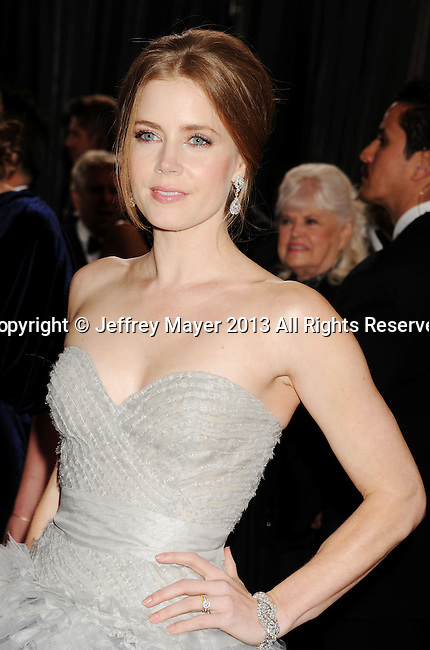 LOS ANGELES, CA - FEBRUARY 24: Amy Adams arrives at the 85th Annual Academy Awards at Dolby Theatre on February 24, 2013 in Hollywood, California.