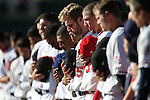 Reno Aces' Matt Davidson listens to the National Anthem before the start of the Triple-A All Star game in Reno, Nev., on Wednesday, July 17, 2013. <br /> Photo by Cathleen Allison