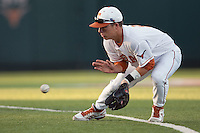 Texas Longhorns second baseman Brooks Marlow #8 fields a grounder during the NCAA baseball game against the Central Arkansas Bears on April 24, 2012 at the UFCU Disch-Falk Field in Austin, Texas. The Longhorns beat the Bears 4-2. (Andrew Woolley / Four Seam Images).