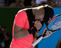 Kyle Edmund (GBR) celebrates match point in his quarter final match against Grigor Dimitrov (BUL).  Australian Open Tennis Championships, Melbourne Park, Melbourne, Australia.23rd January 2018.