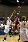 23 MAR 2012: Kyria Buford (21) of Shaw passes the ball to a teammate during the Division II Womens Basketball Championship held at Bill Greehey Arena in San Antonio, TX.  Shaw University defeated Ashland University 88-82 for the national title.  Rodolfo Gonzalez/ NCAA Photos