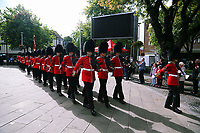 Pictured: The Welsh Guards parade through Castle Square in Swansea.  Friday 15 September 2017<br />