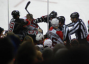 A scuffle develops after a penalty is called against the Panthers.