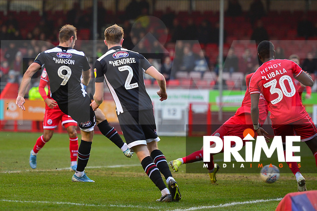 James Hanson scores during the Sky Bet League 2 match between Crawley Town and Grimsby Town at The People's Pension Stadium, Crawley, England on 25 January 2020. Photo by Lee Blease.