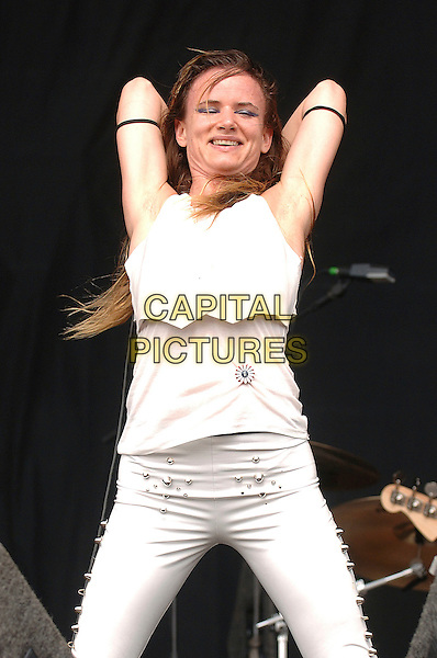 JULIETTE LEWIS & THE LICKS.Performing live at the V Festival, Hylands Park, Chelmsford, England..August 18th, 2007.stage concert live gig performance music half length white waistcoat vest microphone arms in air  .CAP/BEL.©Belcher/Capital Pictures
