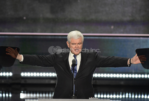 Former Speaker of the United States House of Representatives Newt Gingrich (Republican of Georgia) makes remarks at the 2016 Republican National Convention held at the Quicken Loans Arena in Cleveland, Ohio on Wednesday, July 20, 2016.<br /> Credit: Ron Sachs / CNP/MediaPunch<br /> (RESTRICTION: NO New York or New Jersey Newspapers or newspapers within a 75 mile radius of New York City)