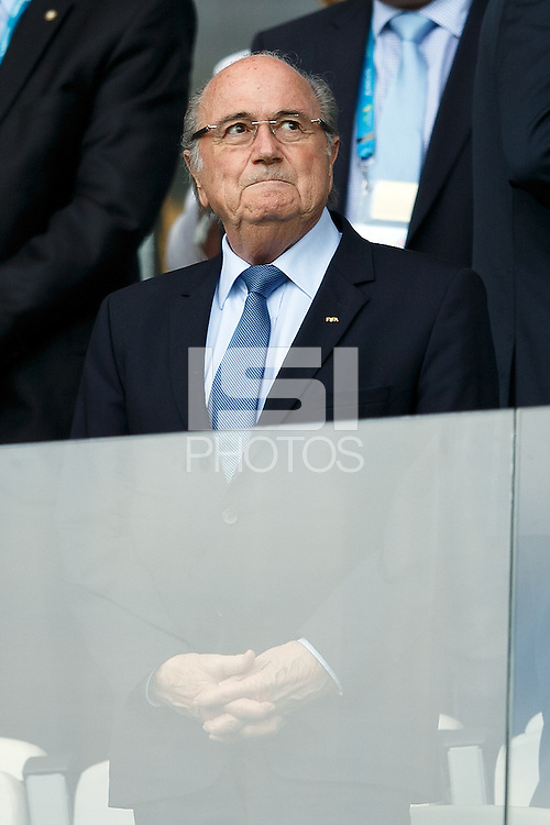 FIFA President Sepp Blatter watches the match