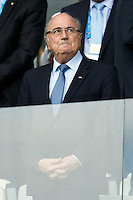 FIFA President Sepp Blatter watches the match
