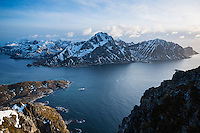 View of Flakstadoy and Nappstraumen from summit of Offersoykammen, Lofoten Islands, norway