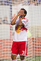 Roy Miller (7) of the New York Red Bulls reacts to a missed scoring opportunity during the first half. The New York Red Bulls and CD Chivas USA played to a 1-1 tie during a Major League Soccer (MLS) match at Red Bull Arena in Harrison, NJ, on May 23, 2012.
