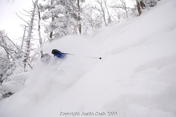 Skiers at Jay Peak, Vermont.