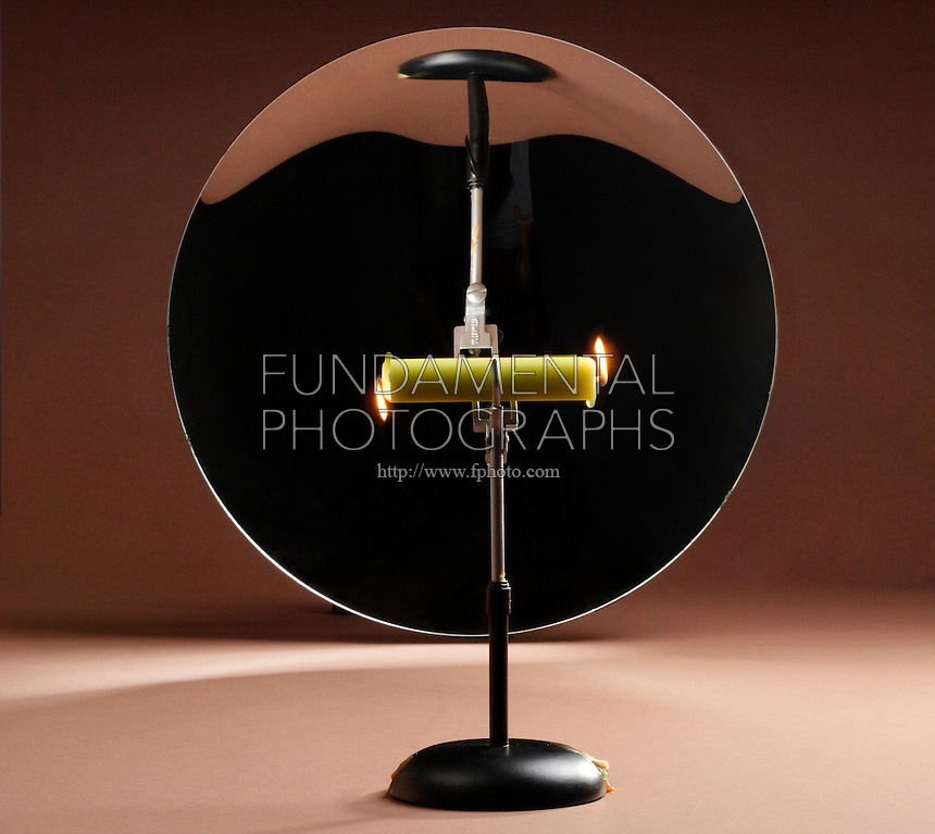 CANDLE BURNING AT BOTH ENDS<br /> Illusion In a Spherical Concave Mirror<br /> An object at the center of curvature forms a real,inverted image the same size as the object. Image distance is the same as object distance. We see a candle burn at one end- flame up and its overlapping image-flame down.