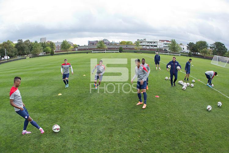 Boston, Mass. - October 7, 2014: The USMNT train at Harvard's Ohiri Field in preparation for their upcoming match vs Ecuador.