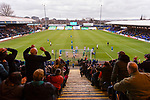 Stockport head just over the bar, in front of The Cheadle End. Stockport County v Barnet, 07032020. Edgeley Park, National League. Photo by Paul Thompson.