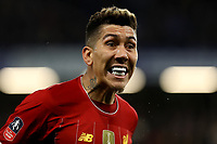 3rd March 2020; Stamford Bridge, London, England; English FA Cup Football, Chelsea versus Liverpool; Roberto Firmino of Liverpool complains to the referee for a foul being given