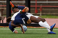 Mishawaka Marian's Jordan Morris, top, and Providence's Nick Berry hit the turf after getting tangled while playing the ball during the IHSAA Class A Boys Soccer State Championship Game on Saturday, Oct. 29, 2016, at Carroll Stadium in Indianapolis. Marian won 4-0. Special to the Tribune/JAMES BROSHER