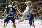 20.01.2013 Barcelona, Spain. IHF men's world championship, eighth.final. Picture show William Accambray   in action during game between Island  vs France at Palau st Jordi