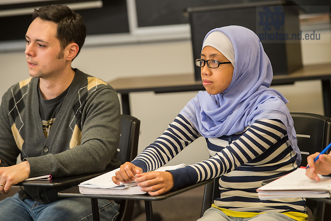 "Jan. 21, 2015; Prof. Ebrahim Moosa ""Modern Islamic Thought"" class. (Photo by Matt Cashore/University of Notre Dame)"