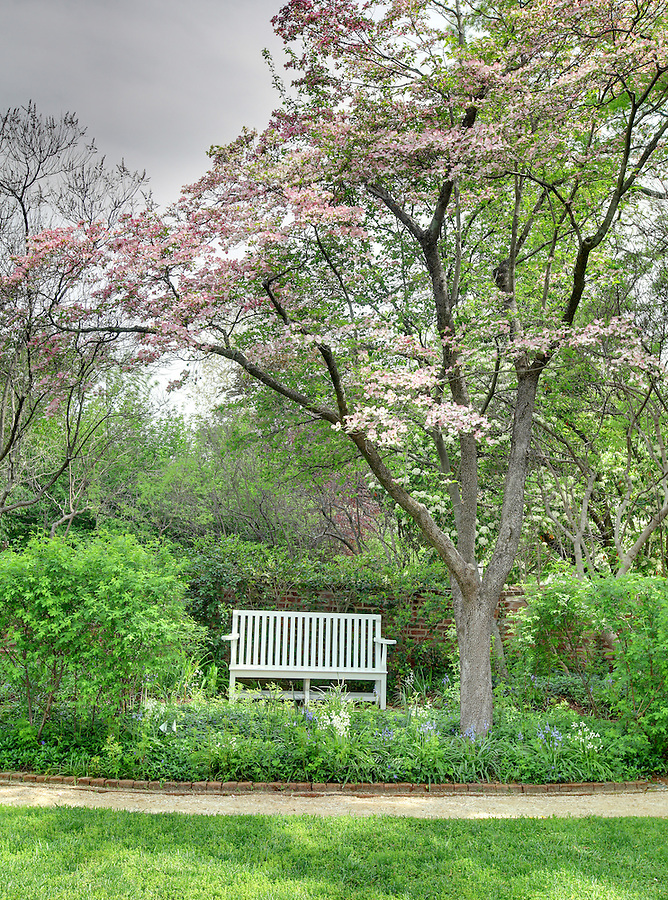 The University of Virginia pavilion garden III in spring on central grounds.