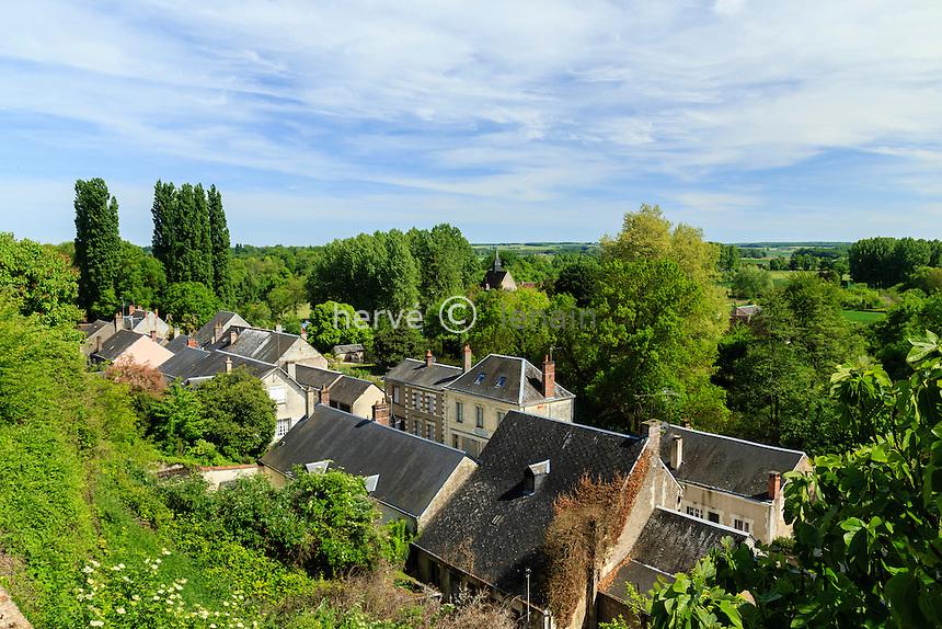 France, Loir-et-Cher (41), Trôo, vue sur le bas du village et l'église de Saint-Jacques-des-Guérets // France, Loir et Cher, troo, view of the bottom of the village and the church of Saint Jacques des Guerets