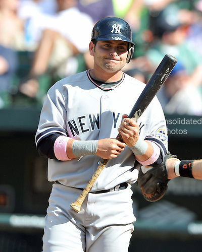 Baltimore, MD - May 10, 2009 -- New York Yankees catcher Francisco Cervelli (29) grips his bat in disgust after grounding out in the 9th inning against the Baltimore Orioles at Oriole Park at Camden Yards in Baltimore, MD on Sunday, May 10, 2009.  The Yankees won the game 5 - 3..Credit: Ron Sachs / CNP.(RESTRICTION: NO New York or New Jersey Newspapers or newspapers within a 75 mile radius of New York City)
