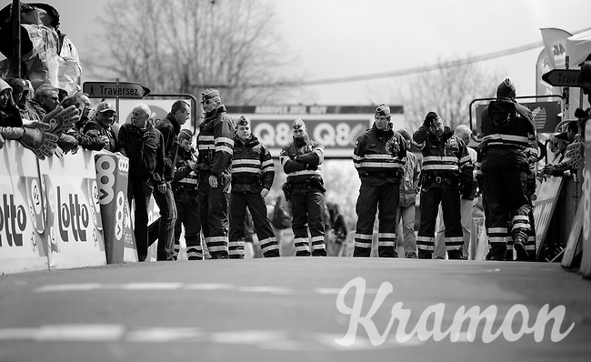 Fleche Wallonne 2012..finish-line guarding is pretty big business in Belgium (apparently).