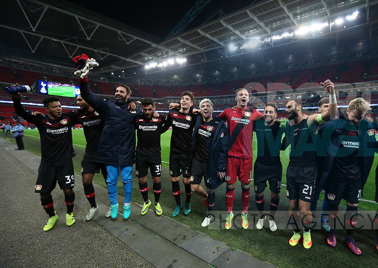 Leverksen's players celebrates at the final whistle during the Champions League group E match at the Wembley Stadium, London. Picture date November 2nd, 2016 Pic David Klein/Sportimage