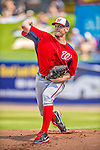 23 February 2013: Washington Nationals pitcher Stephen Strasburg warms up prior to a Spring Training Game against the New York Mets at Tradition Field in Port St. Lucie, Florida. The Mets defeated the Nationals 5-3 in their Grapefruit League Opening Day game. Mandatory Credit: Ed Wolfstein Photo *** RAW (NEF) Image File Available ***