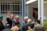 Middle East Envoy and former UK Prime Minister Tony Blair arrives to the Muqata'a in Ramallah, West Bank, to meet with Palestinian president Mahmoud Abbas (seen in the center) Tuesday, July 24, 2007.<br />(Photo by Ahikam Seri).