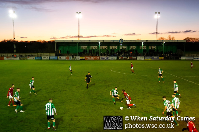 View from the Port of Blyth stand as the Sun sets. Blyth Spartans v Brackley Town, 30112019. Croft Park, National League North. Photo by Paul Thompson.