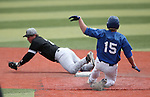 Western Nevada College's Jake Bennett steals second against College of Southern Idaho's Harrison Ramey at John L. Harvey Field, in Carson City, Nev., on Friday, March 28, 2014. <br /> Photo by Cathleen Allison/Nevada Photo Source