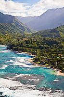 Aerial view of Haena Beach on the north shore of Kauai, Hawaii