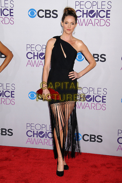 Erinn Hayes.People's Choice Awards 2013 - Arrivals held at Nokia Theatre L.A. Live, Los Angeles, California, USA..January 9th, 2013.full length slash slit fringed skirt red clutch bag dress black one shoulder hair up hand on hip  .CAP/ADM/BP.©Byron Purvis/AdMedia/Capital Pictures.